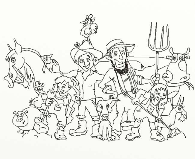 Dibujo con granjeros y animales de granja