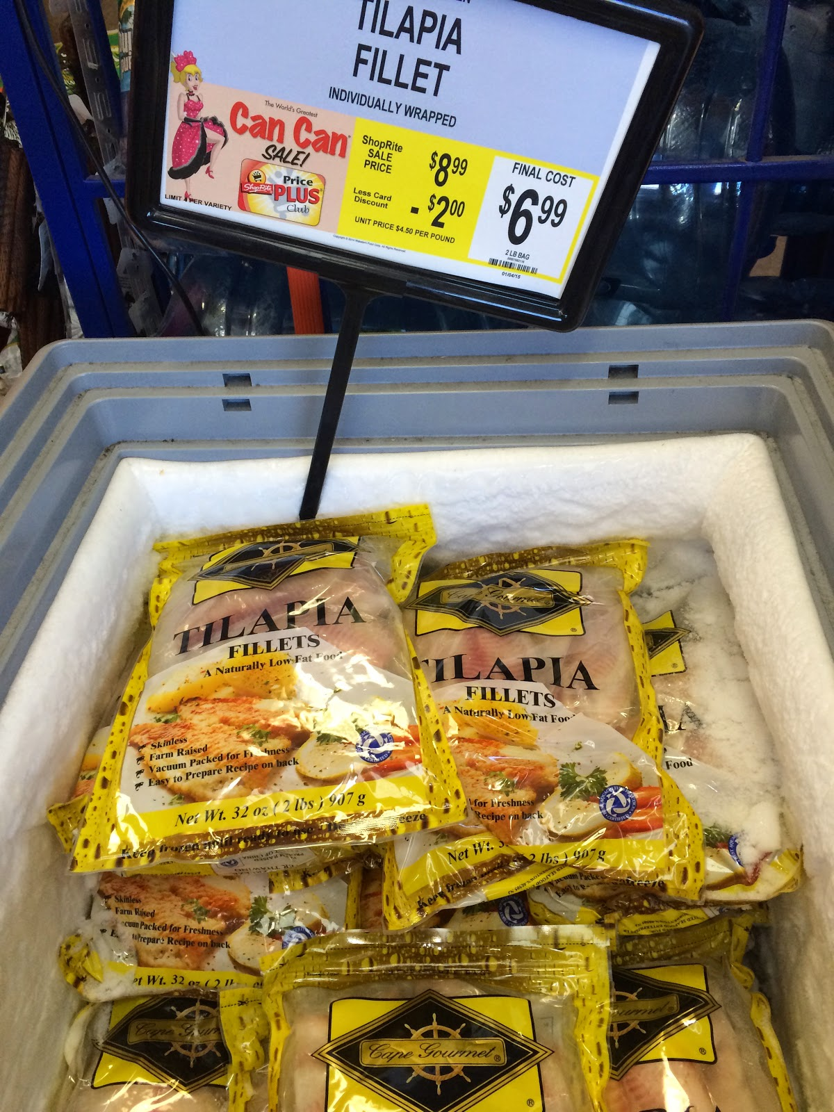 Shoprite can can sale 2015 - At The Shoprite In Paramus Farmed Raised Tilapia Fillets From China Were Reduced Further For The Can Can Sale But Given The Country S Poor Food Safety