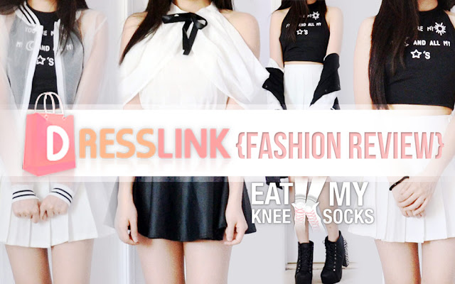 Today I'll be reviewing my latest Dresslink order, featuring four super-affordable black-and-white items: an off-shoulder blouse, longline baseball jacket, halter crop top, and sheer bomber jacket.
