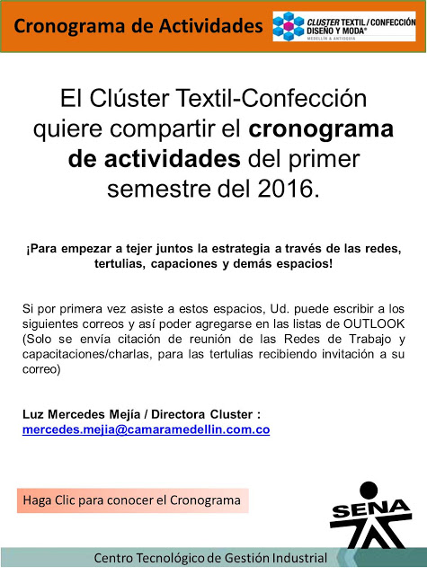CRONOGRAMA ACTIVIDADES CLUSTER TEXTIL