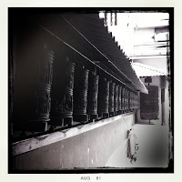 prayer wheels at boudhanath stupa