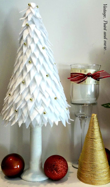 Vintage, Paint and more... diy'd trees with felt and gold beads and gold cord