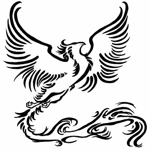 Phoenix long tail tattoo stencil