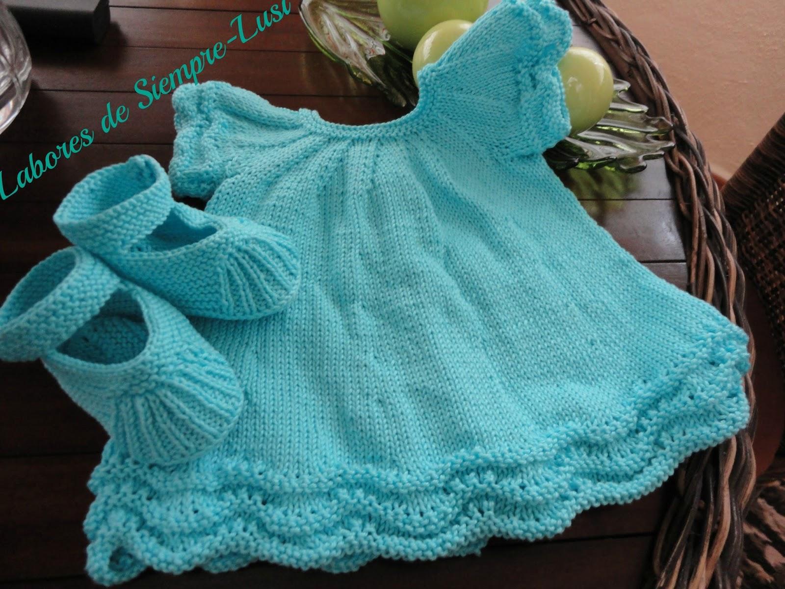 Labores de siempre vestido beb en algod n - Labores punto dos agujas ...