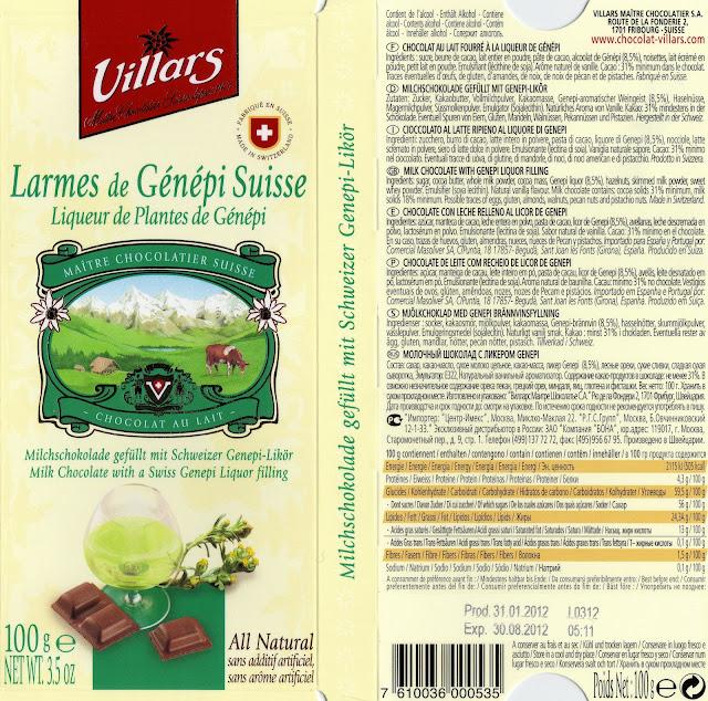 tablette de chocolat lait fourré villars lait larmes de génépi suisse