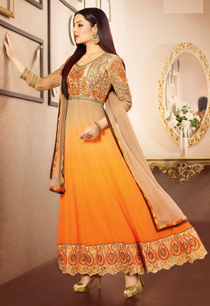 Shaded Beige And Orange Faux Georgette Abaya Style Shalwar Kameez