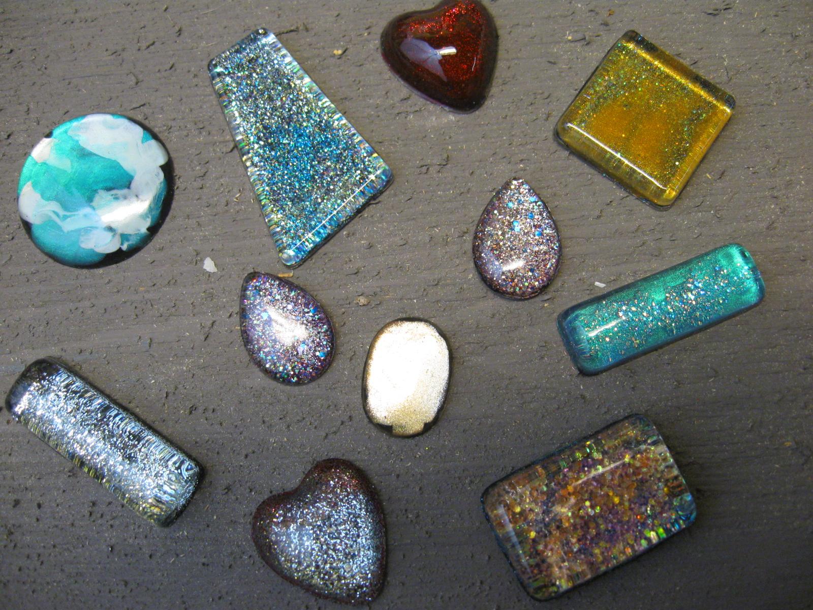 Craft klatch nailpolish jewelry resin charms craft tutorial for Nail polish crafts