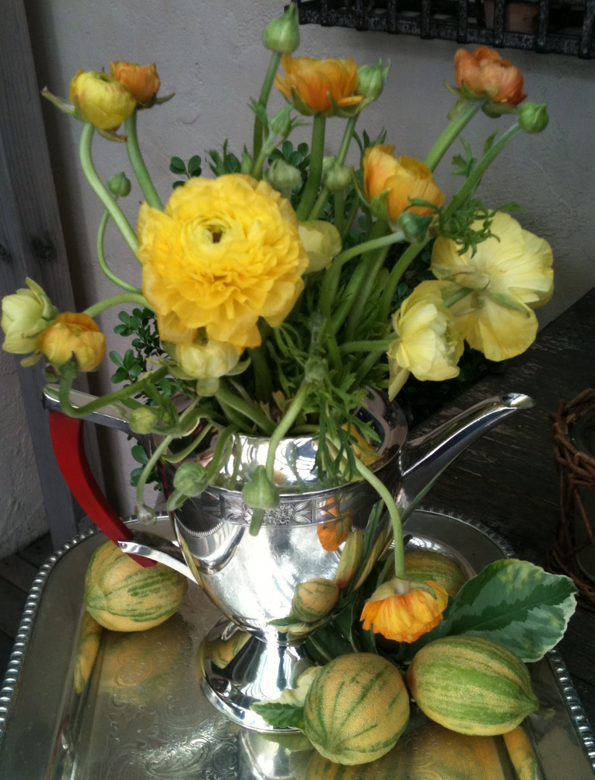 Todays Treasure By Jen Silver Teapots And Spring Flowers