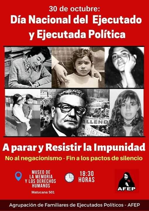 30 DE OCTUBRE: DIA NACIONAL DEL EJECUTADO Y EJECUTADA POLITICA