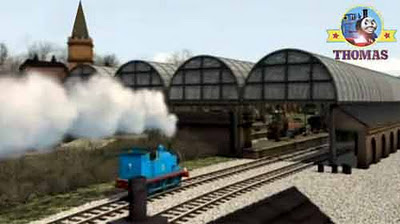 Thomas the train chuffed cheerfully into steamy Sodor Knapford station platform railway building
