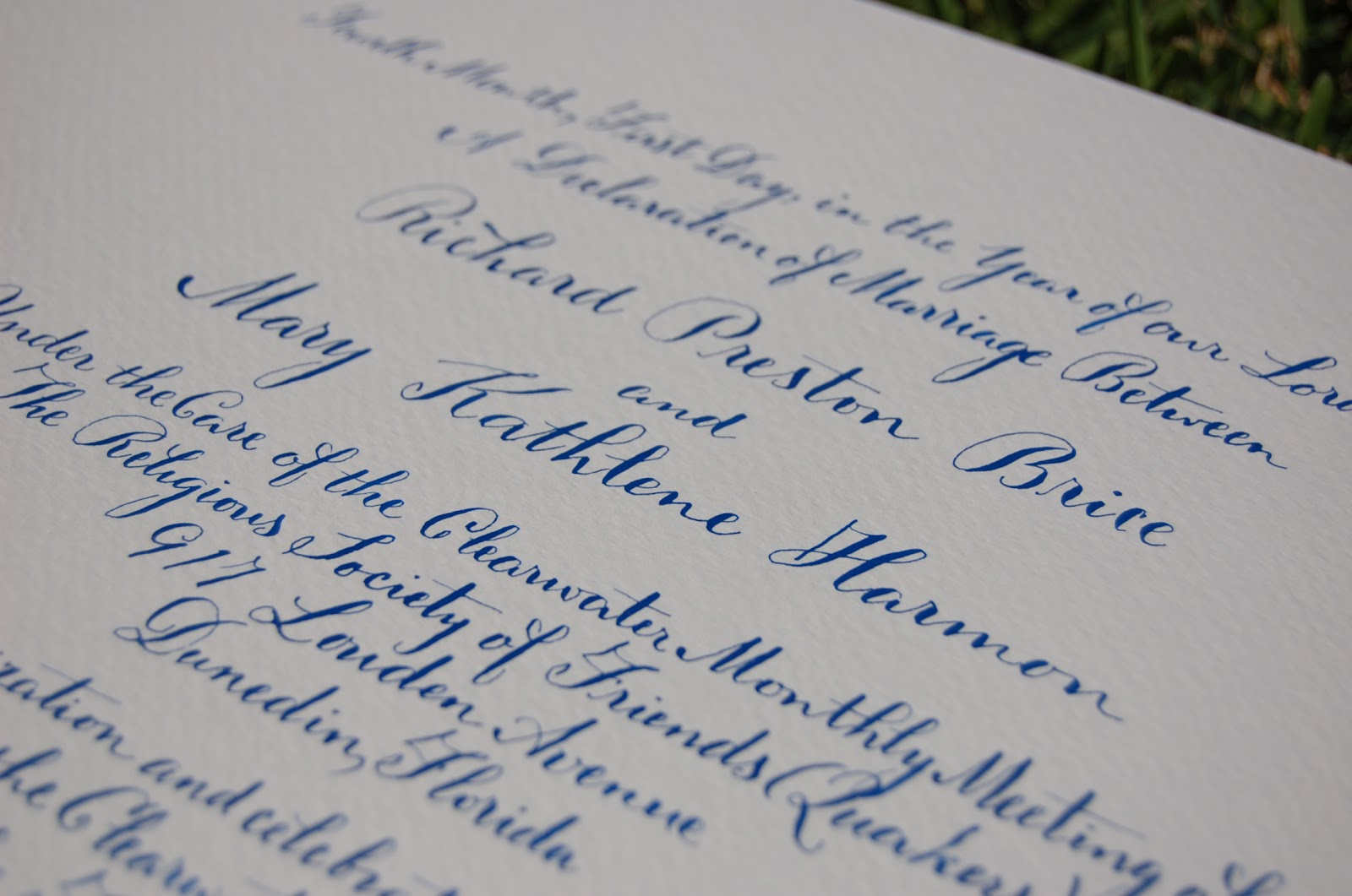 Dancing Pen Calligraphy: Vintage Style Quaker Marriage Certificate