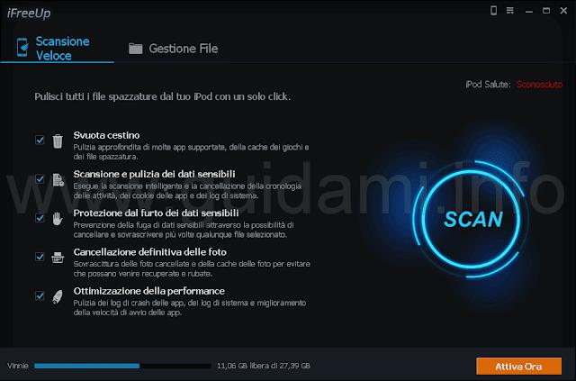 iFreeUp Scansione Veloce file spazzatura
