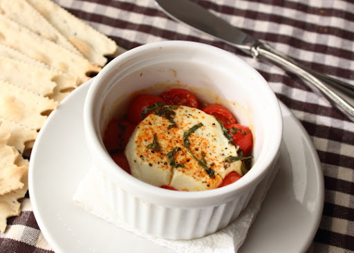 "Baked Goat Cheese ""Caprese"" – Hot and Not"