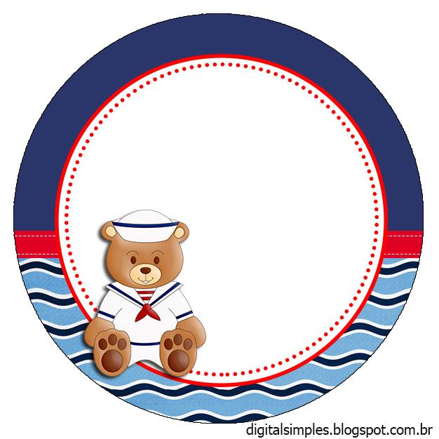 Kit Personalizado Ursinho Marinheiro para Imprimir  - imagens para colorir ursinho marinheiro