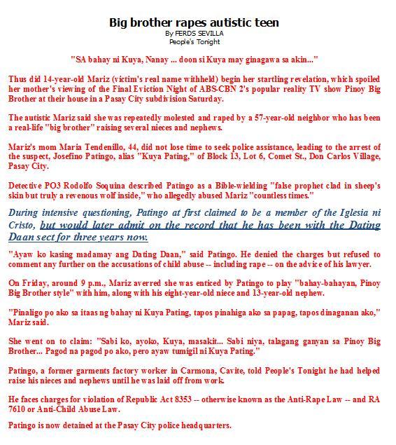 dating daan cult 'ang dating daan' church of god int'l cult organization formerly church of god  in christ, the pillar and ground of the truth or mga kaanib sa iglesia ng dios.