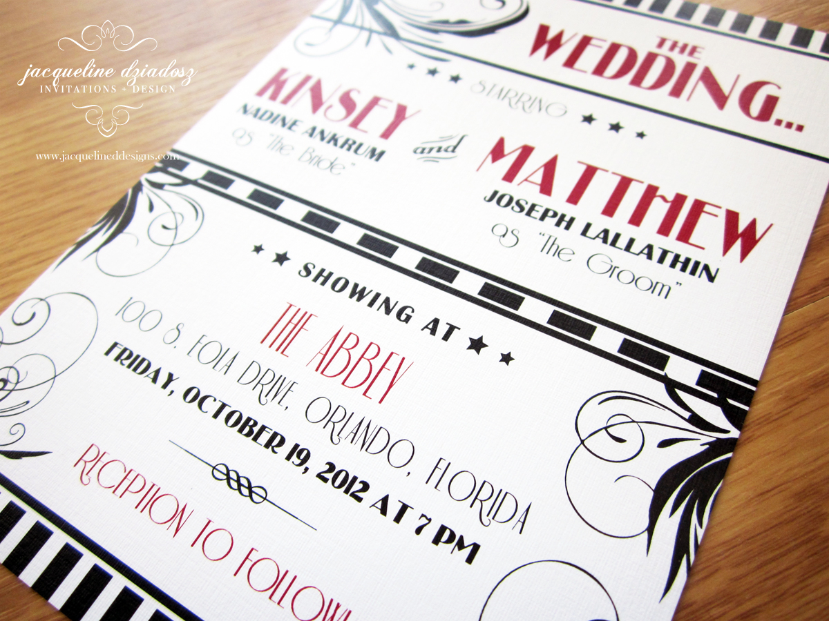 Kinsey & Matthew\'s Old Hollywood Wedding Invitations | Jacqueline ...