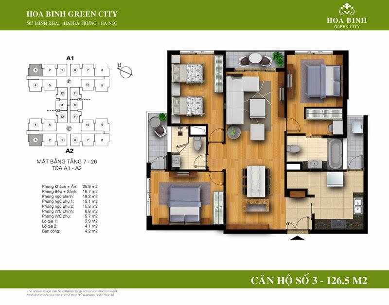 căn số 03 ( 126,5m2 ) chung cư Hòa Bình Green City