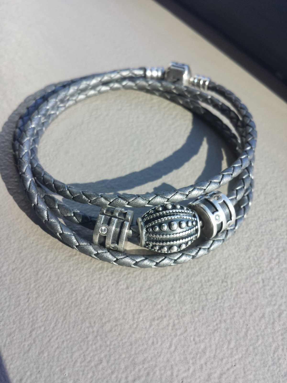 Pandora Grey Leather Bracelet