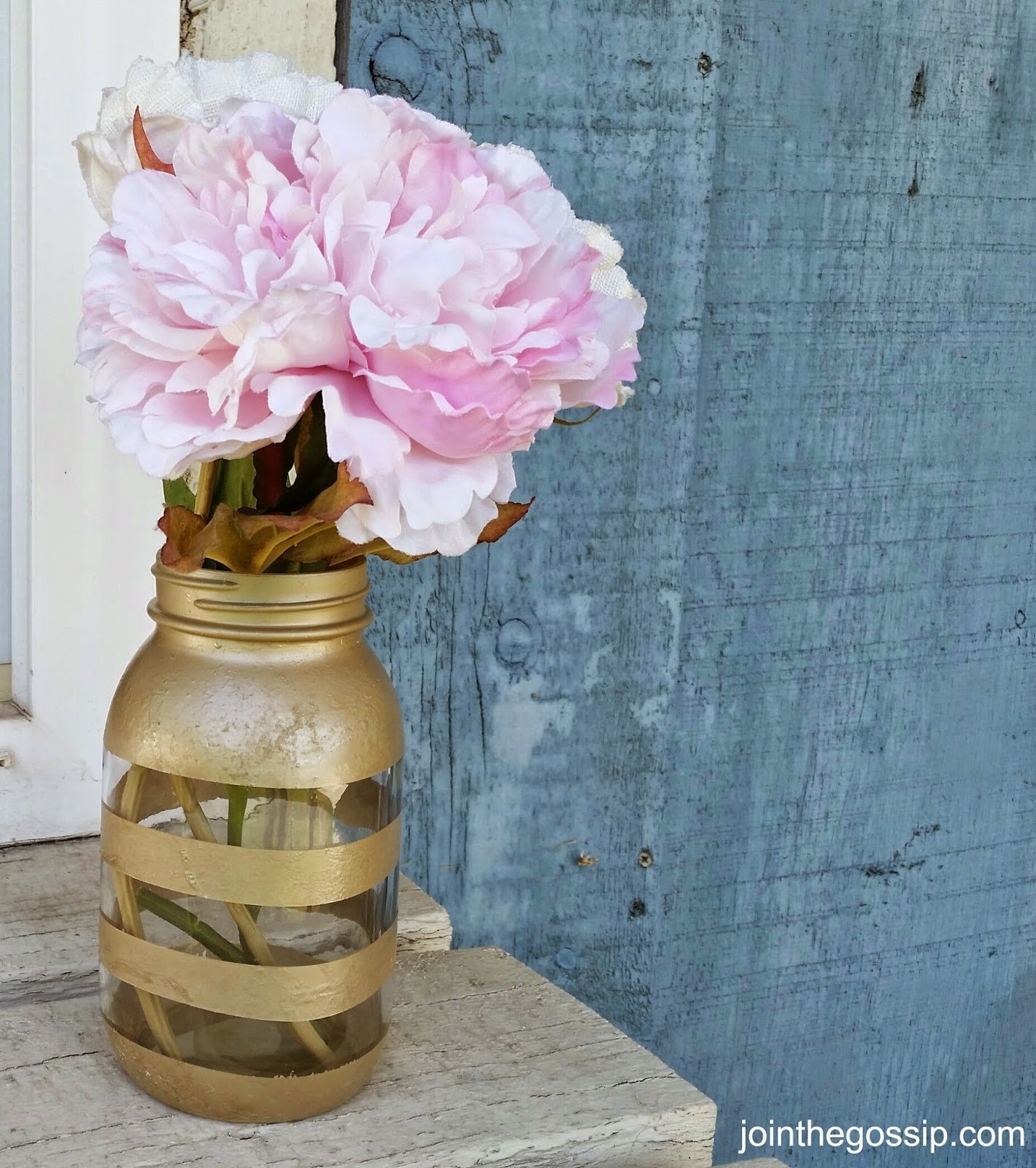 Striped Mason Jar Vase Tutorial
