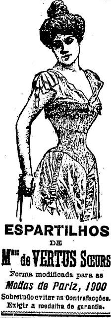 Propaganda de Espartilhos no ano de 1900. Produto usado para modelar a cintura e a região dos seios.