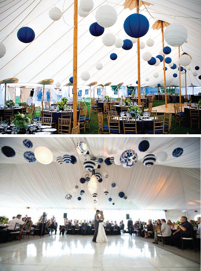 Round paper lanterns are an extremely popular option as hanging decor