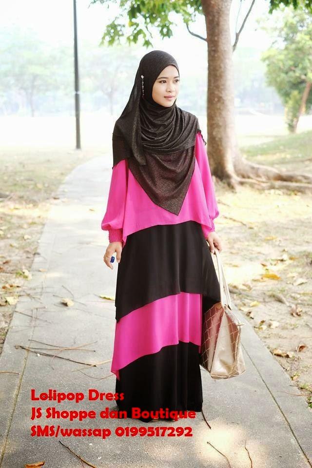 Dress Labuh Lolipop Pink/Hitam
