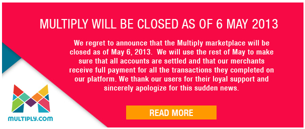 Multiply Marketplace is Closing on May 6, 2013