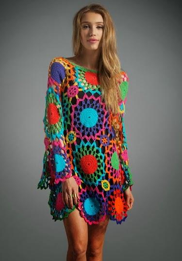 tığ elbise,tığ örgü giyim,renkli tığ elbise