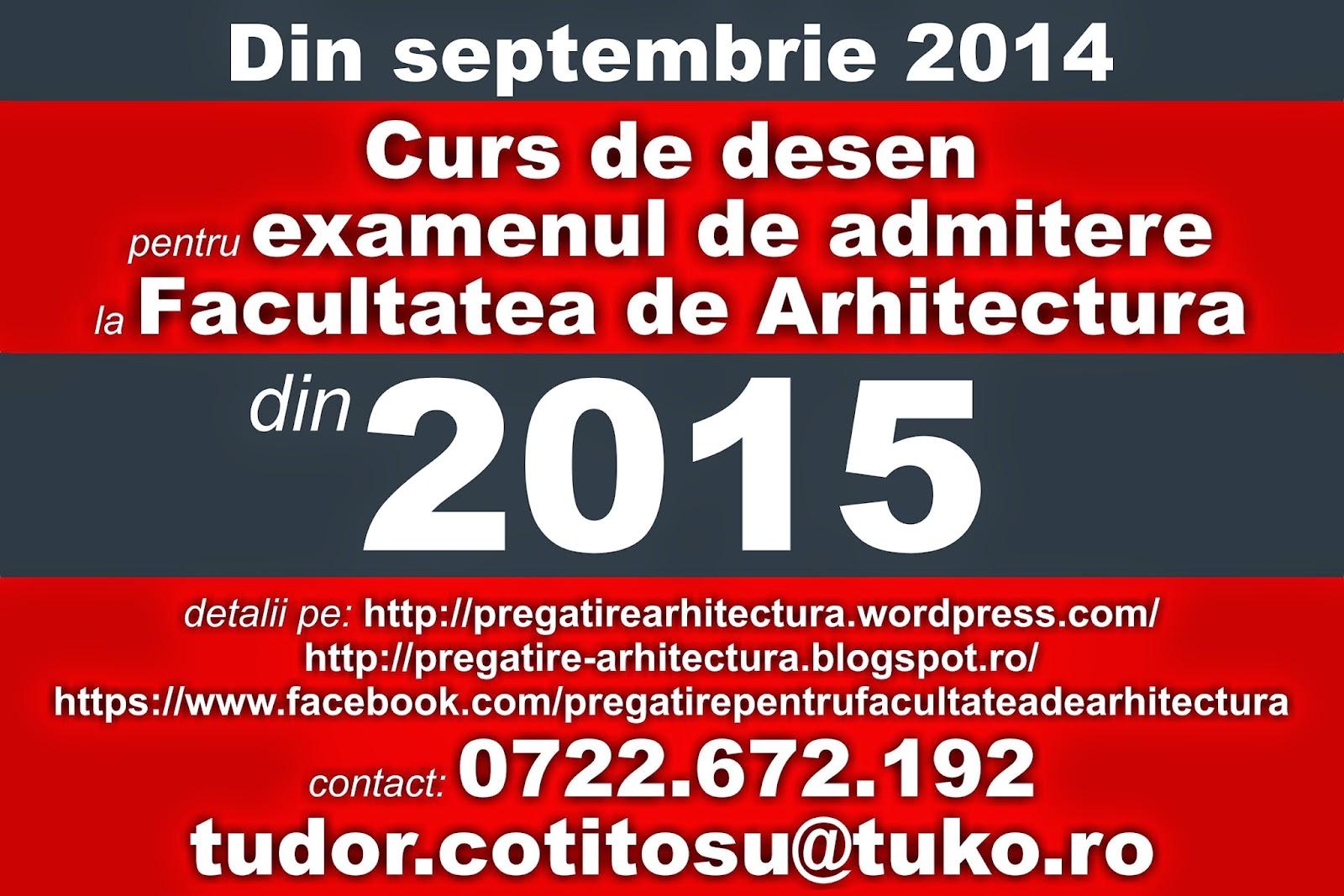 Curs de desen pentru examenul de admitere la Facultatea de Arhitectura 2014 - 2015