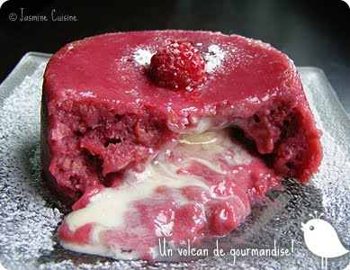 Moelleux chocolat blanc coeur coulant framboise