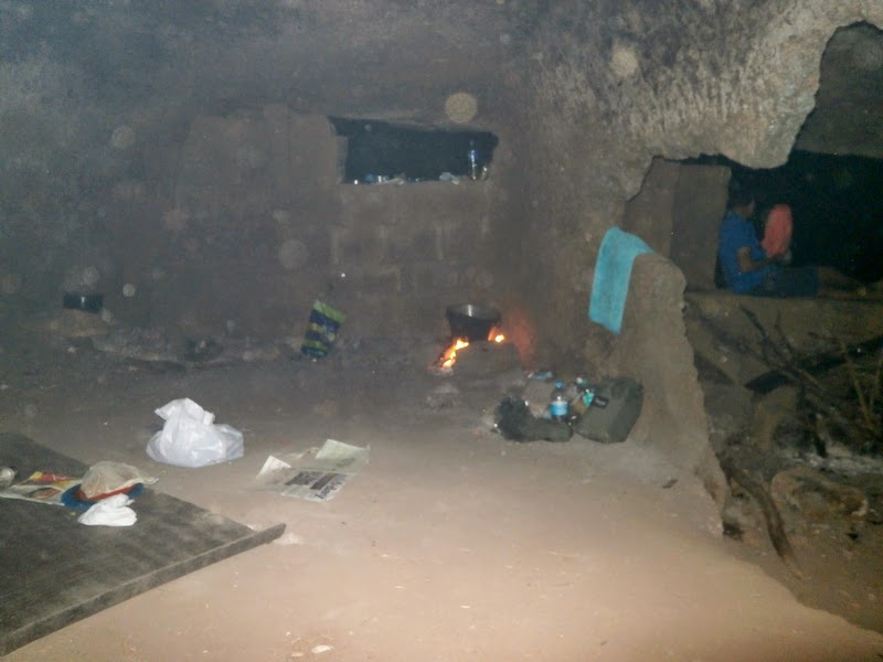 Our kitchen in the cave on Alang