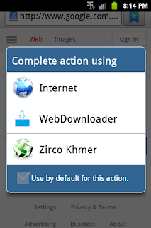 Display web downloader in popuup list of apps choices