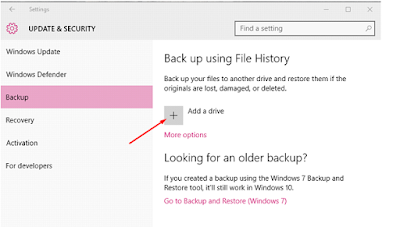 Storing windows 10 back up externally
