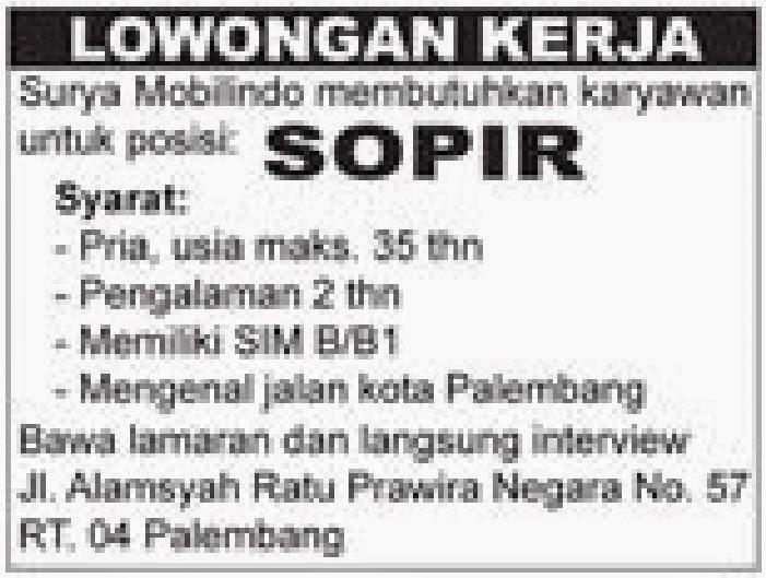 Lowongan Kerja Palembang - Surya Mobilindo