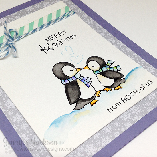 Penguin Kiss-mas Card by Jennifer Jackson | Holiday Smooches Stamp set by Newton's Nook Designs
