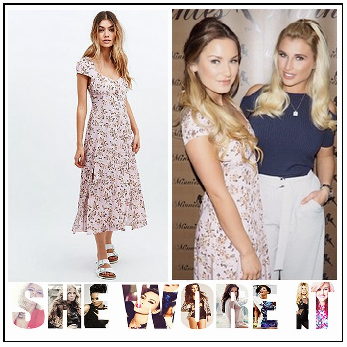 Cap Sleeve, Celebrity Fashion, Celebrity Style, Dress, Floral Print, Front Split, Light Pink, Midi Dress, Mink Pink, Sam Faiers, Square Neckline, V-Neck,