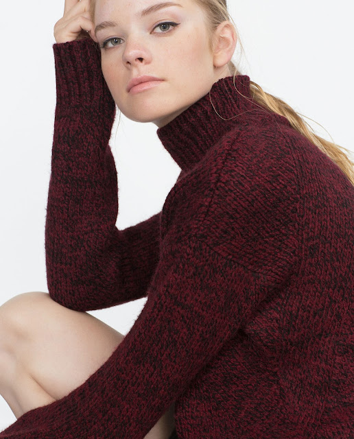 zara burgundy jumper, red black fleck jumper,