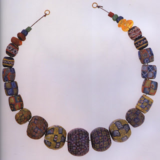 A richly patterned necklace of glass beads from the Viking period (A.D. 800-1000) excavated at Eidem in Norway Most of the beads were imported (probably from several locales, including former Roman territories in western Europe and western Asia, as well as eastern and central Europe). Some may have been made with imported glass scrap and glass mosaic ingots, a technique inherited from the Romans.