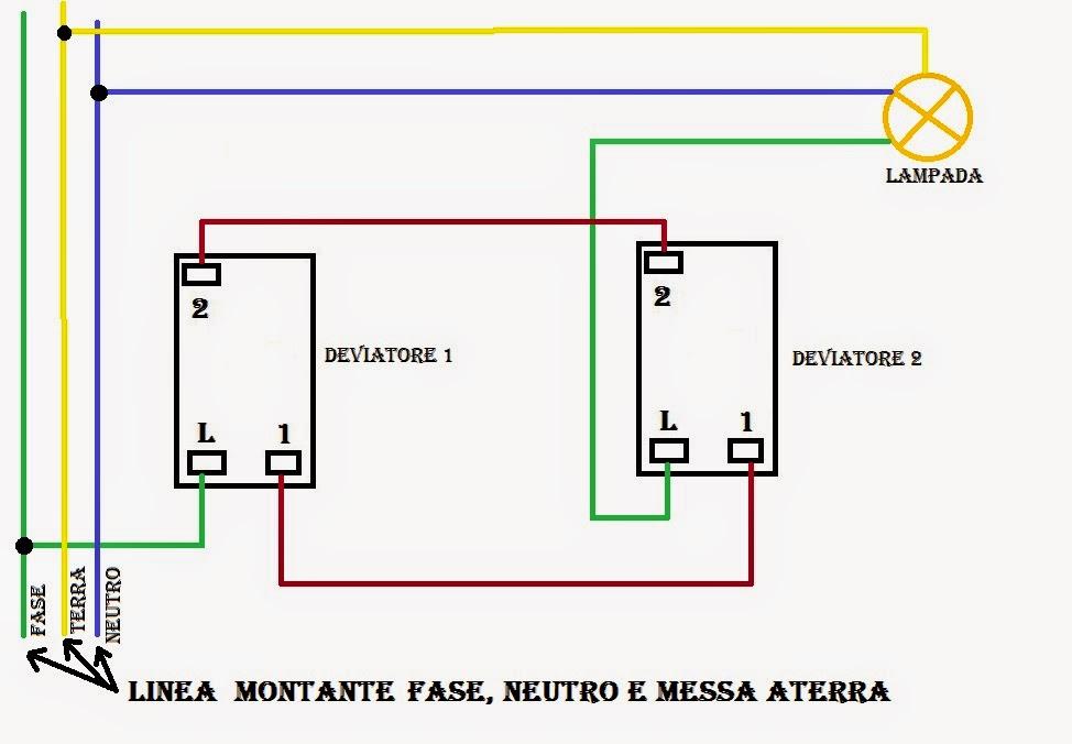 Schema Elettrico Lampadario Doppia Accensione : Schema collegamento interruttore deviatore