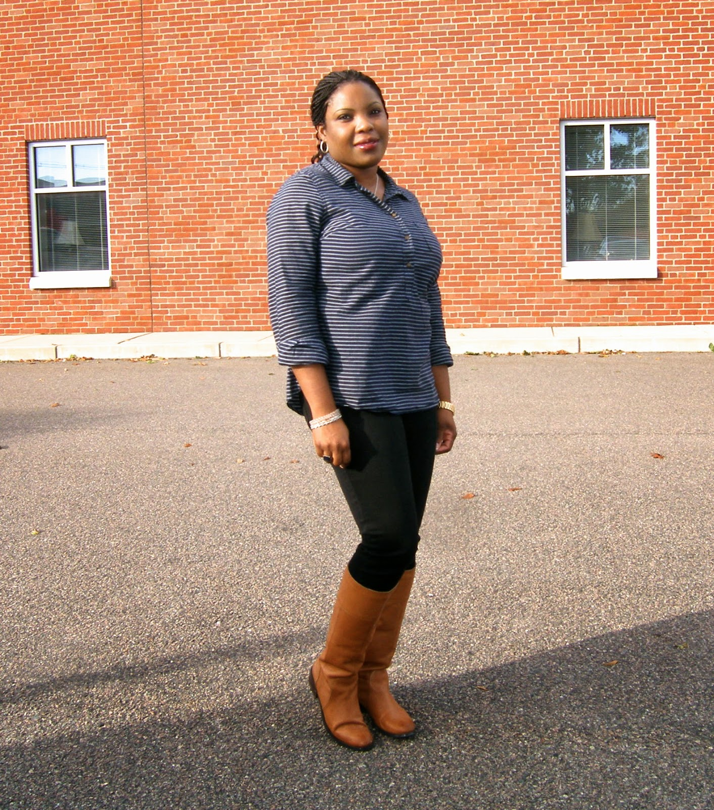 Merona tunic Shirt, Nine West Cognac Boots