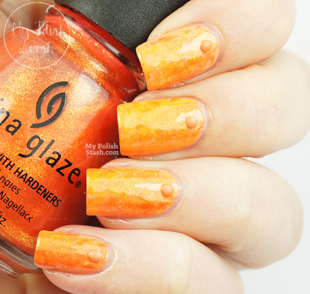 orange saran wrap nail design