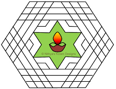 Kolam 42: Deepam Kolam  Interlocked dots 15 x 8