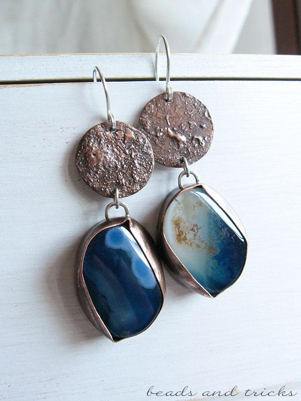 Orecchini in rame, agata blu e argento 925