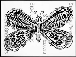 Butterfly stencil by Maria McGuire for StencilGirl Products