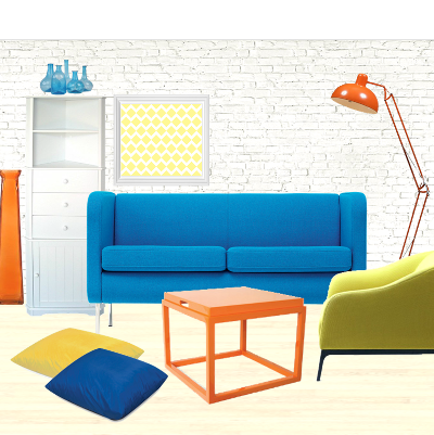 Quirk It Design_color block decor_orange-blue-yellow-white-moodboard_DIY_Quirky_Home_Decor