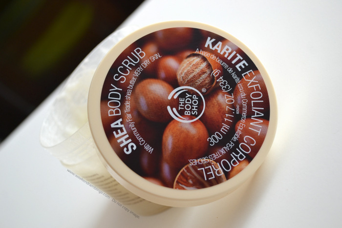The Bodyshop Jumbo Shea Butter Body Scrub TBS Organic Natural Dry Skincare Beauty Blog Reviews Ingredients How to Use
