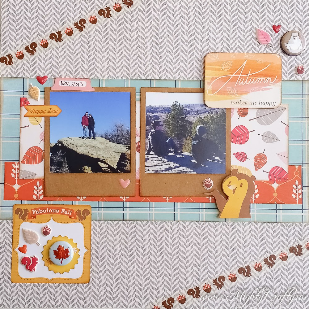 Autumn Makes Me Happy layout for Sketch N Scrap Challenge #69 -- www.MightyCrafty.me