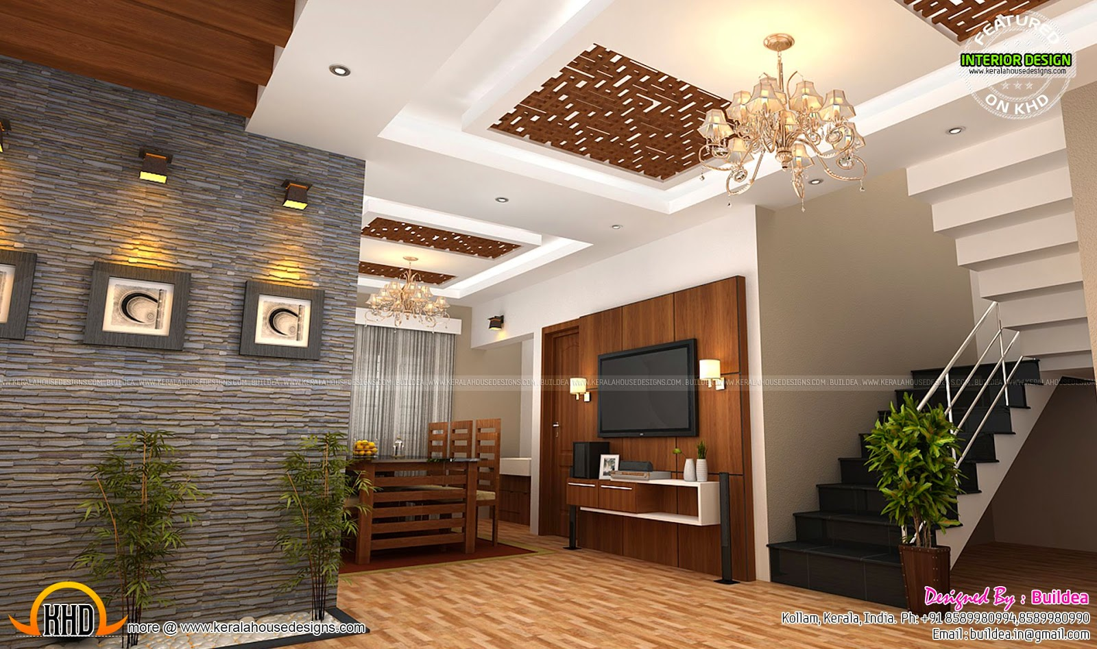 Living bedroom suit room interior kerala home design for Kerala home interior living room