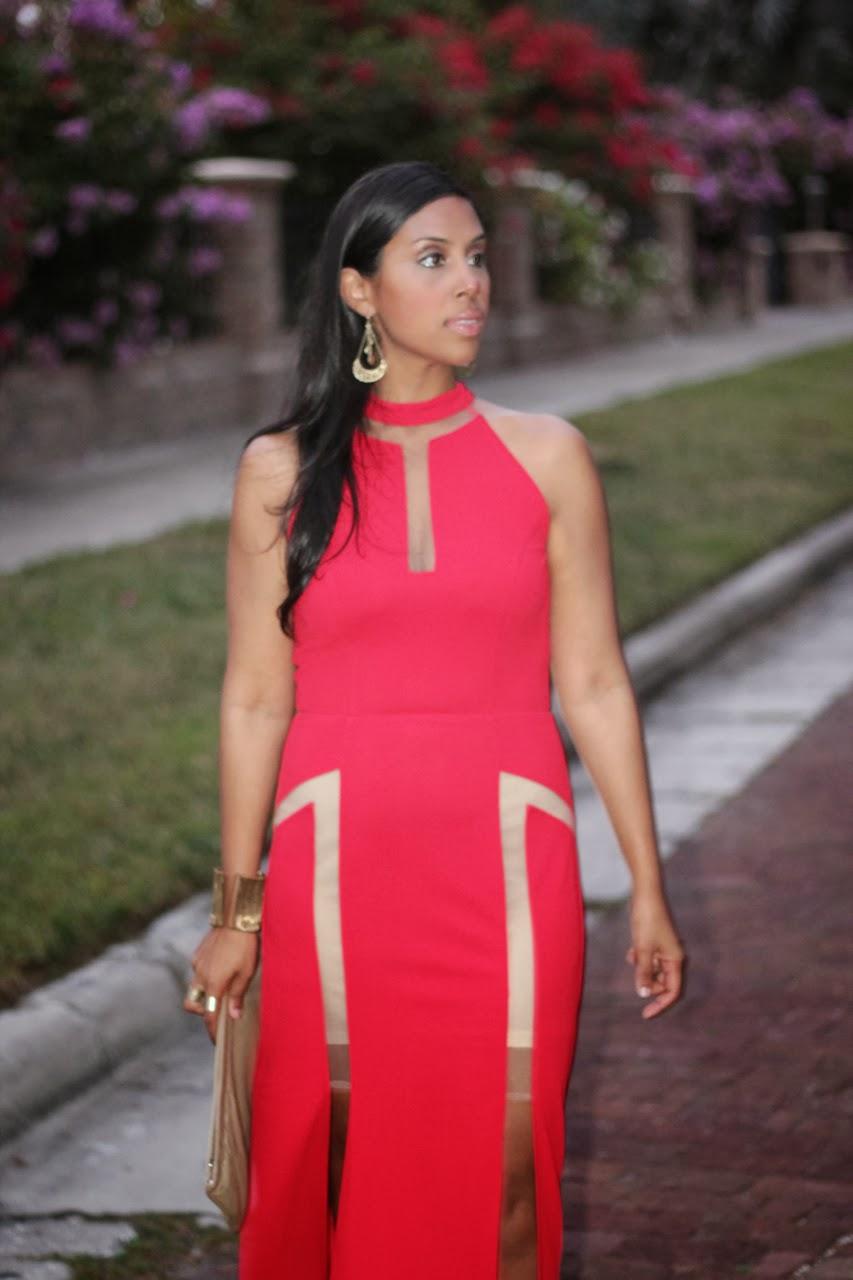 red cutout slit dress zara bcbg supermuse