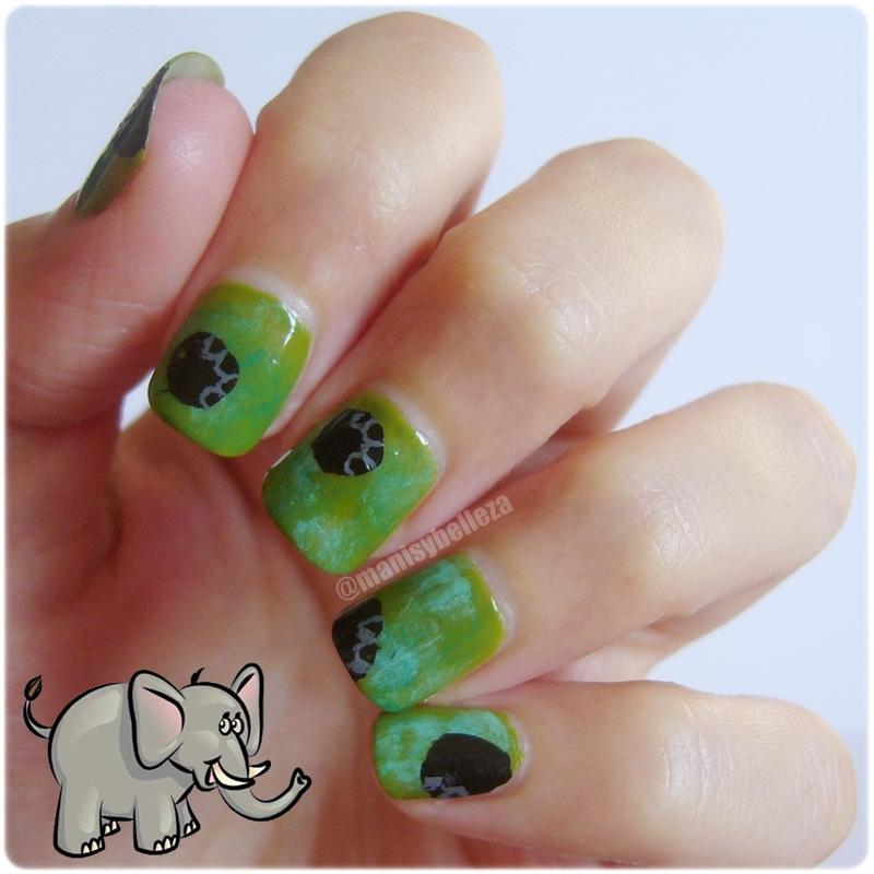 Nail art huellas elefantes con puntos